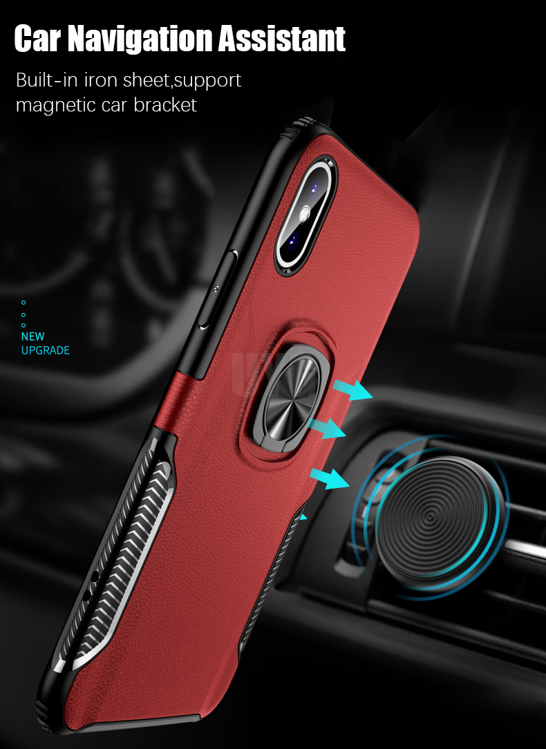 Luxury Leather texture Bracket case For iPhone x xs max xr Shockproof armor cover For iphone 6 6s 7 8 plus case with ring holder (3)