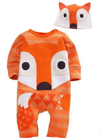 Conjunto Romper do bebê de Algodão de Manga Longa Romper Animais Chapéu 2 PCS Set para o Bebê Da Menina do Menino Do Bebê Set Roupas Primavera Coruja Cão Fox gato