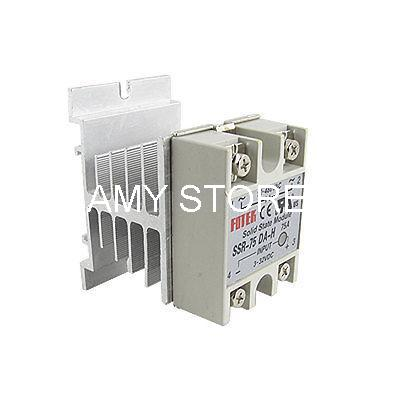 DC-AC Single Phase 3-32VDC 90-480VAC 75A SSR Solid State Relay + Heat Sink SSR-75DA-H wsfs hot sale dc to ac single phase solid state relay ssr 40da 40a 90 480v ac heat sink
