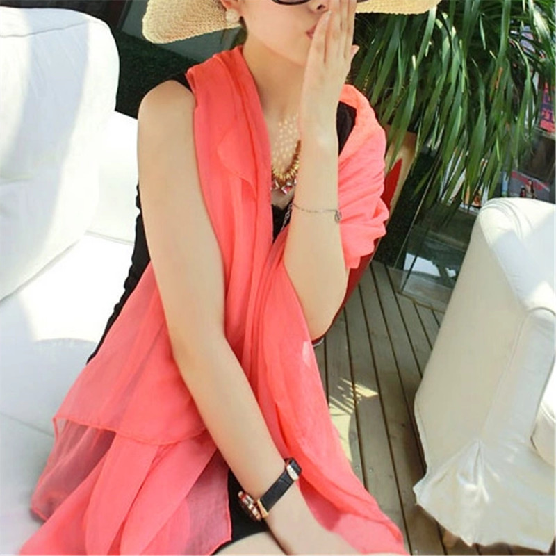 Hot Sale Women Fashion Solid Color Soft Beach Cover Up Shawls and Scarves Long Chiffon Scarfs 20 Colors