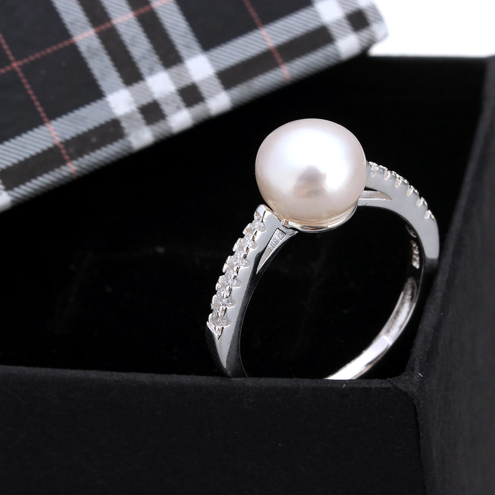 kiss me mujer jewelry 925 Silver finger ring pearl rings wedding gift for  women bague Adjustable women rings 2017 US Ring Size 6 39b5447b5089