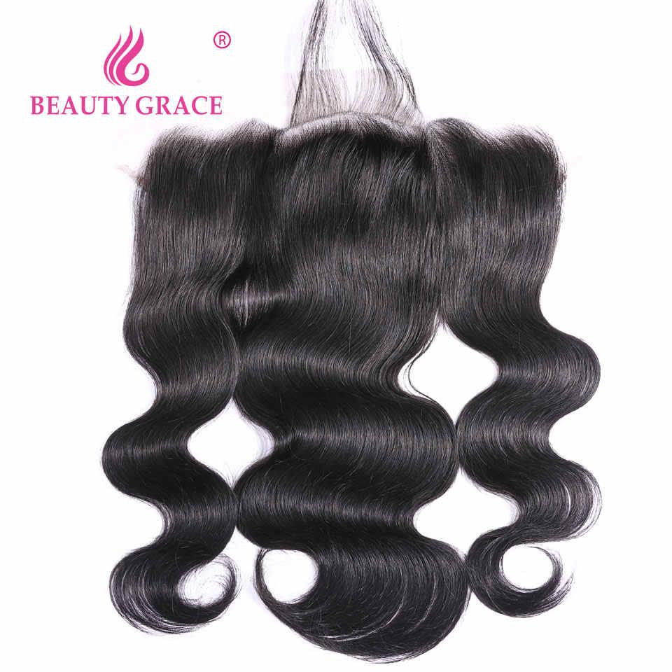 Beauty Grace бразильские пучки волнистых волос с фронтальным плетением человеческих волос 3 пучка не Реми 13x4 кружева Фронтальная застежка с пучками