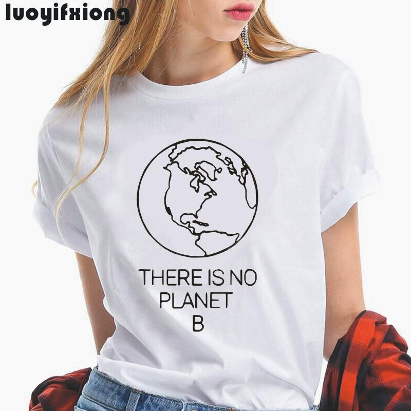 Earth Day Slogan <font><b>There</b></font> <font><b>Is</b></font> <font><b>No</b></font> <font><b>Planet</b></font> <font><b>B</b></font> Women <font><b>Tshirt</b></font> 2019 Summer Tee Shirt Femme Hipster Environmental Saying <font><b>Tshirt</b></font> Women Tops image