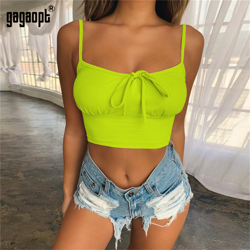 Gagaopt 4 Colors Summer Crop   Tops   Women Sleeveless Bowknot Ladies Sexy   Tops     Tank     Tops   Blusas Streetwear