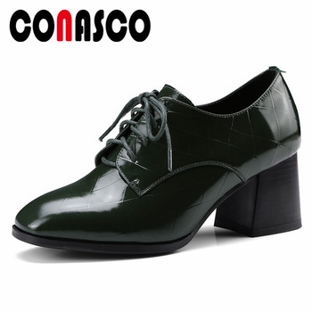 CONASCO New Patent Leather Pumps High Heels Autumn Corss-tied Party Wedding Shoes Woman High Quality Office Basic Pumps Shoes