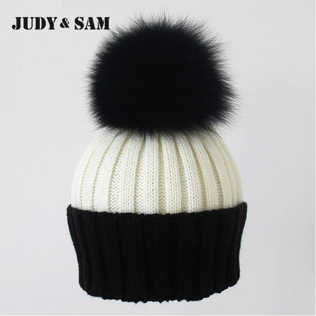 Fashion Women's Winter Knitted Fur Beanie Hats With Real Raccoon Fur Pompoms Caps Ear Protect Causal Fur Hats For Women