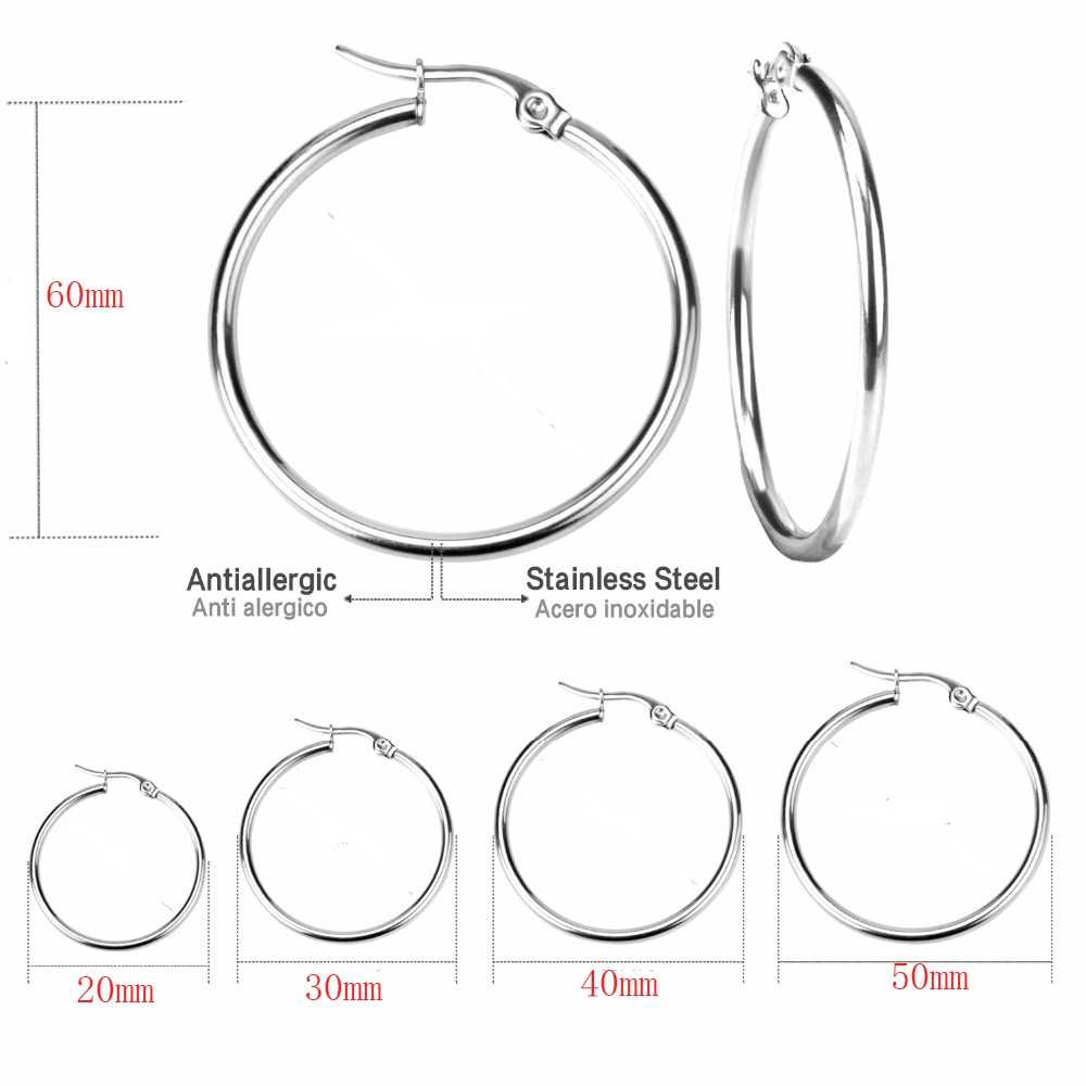 Todorova Small Big Circle Women Hoop Earrings Exaggerated Hoop Ear Loop Smooth Ring Earring Stainless Steel Jewelry