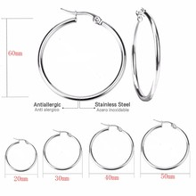 Todorova Small Big Circle Women Hoop Earrings Exaggerated Hoop Ear Loop Smooth Ring Earring Stainless Steel Jewelry(China)