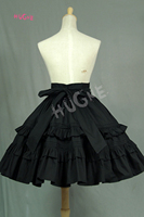 Hugne Lace Garden Branded Black Vintage Short Lolita Skirt with Layered Ruffles Free Shipping