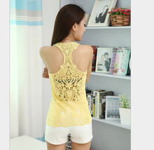 Fashion Women'S Summer Lace Vest Shaped Multi-Color Halter Top O-Neck Slim Free Size Solid Color Crop Tops Renda S2017