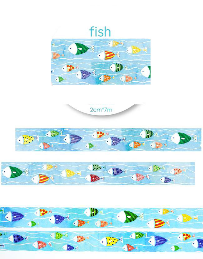 1Roll=20mmx7m High Quality Fish Pattern Japanese Washi Decorative Adhesive Tape DIY Masking Paper Tape Label Sticker For Gift