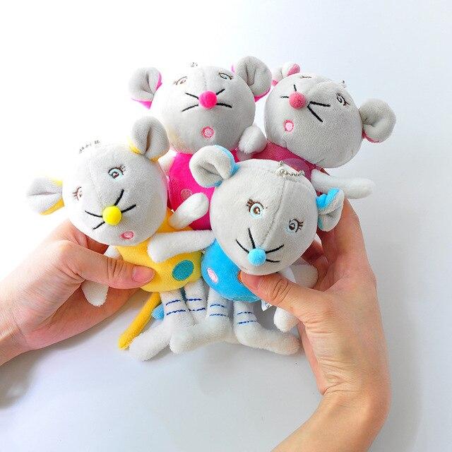 1 pcs Boutique 10 cm Novo Colorido Rato Fluff Pendurado Qualidade Superior Máquina de Boneca Macio Boneca De Pelúcia Chaveiros brinquedos Meninas saco fivela Carro