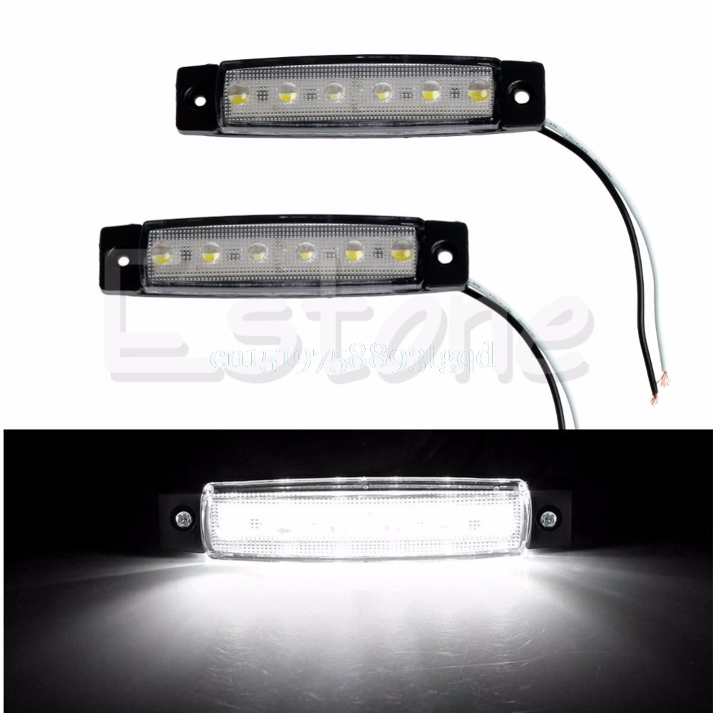 1pair 6-LED Bus Van Boat Truck Trailer Side Marker Tail Light Lamp 12V White 2016 hot 1pc 12v 6 smd led car bus truck trailer lorry side marker indicator light side lamp new dropping shipping high quality