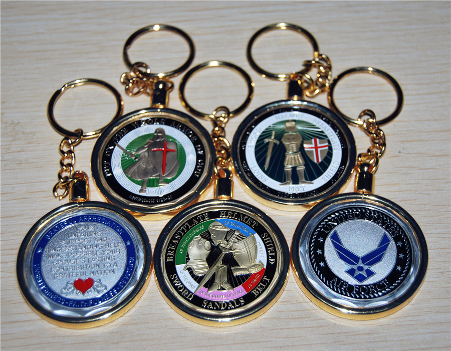 500pcs/lot Independent sale!!!precious metals gold silver Commemorative Coins Key Chain,Challenge Coin protection shell