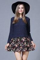 Autumn new floral dài tay áo áo Xanh Rượu Vang Đỏ kích thước lớn thời trang khâu ăn mặc Đơn Giản và thanh lịch cổ Tròn