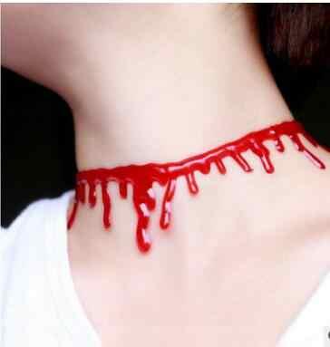 Halloween dekoracji krwi czerwony Choker naszyjnik elastyczny Vintage Stretch tatuaż kobiet biżuteria regulowany krótki naszyjnik