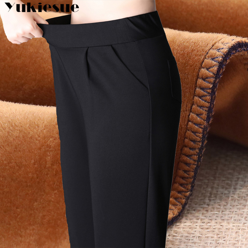 Harem   pants   women 2018 winter warm fleece formal OL office work wear skinny elastic waist stretch   pants     capri   female trousers