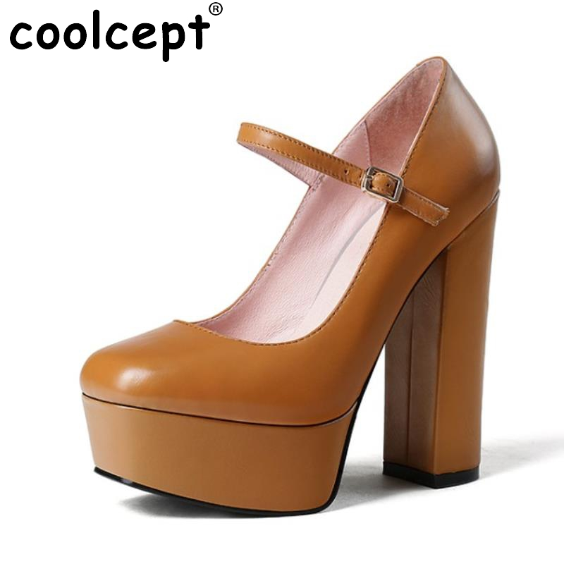 ФОТО Women High Heels Real Leather Shoes Women Ankle Strap Thick Heels Pumps Platform Office Ladies Shoes Sample Footwear Size 33-40
