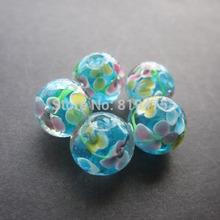 20pcs 12mm handmade glass lampwork beads flower beads ocean blue for jewelry making wholesale and retail