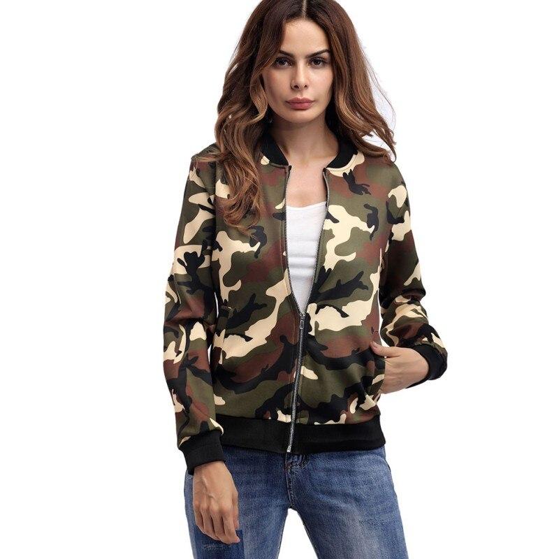 Women's Bomber   Jacket   Autumn Army Green Zipper Long Sleeves Military Camo   Basic     Jackets   Female   Jackets   Vintage Ladies Coat