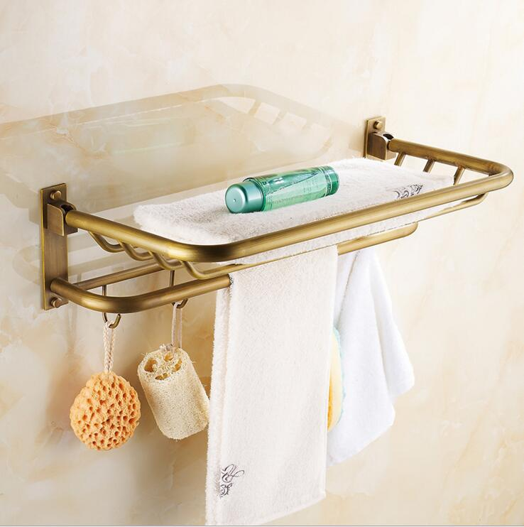 ФОТО European luxury antique full copper folded towel rack towel rack bathroom toilet Continental Shelf with 5 hooks free shipping