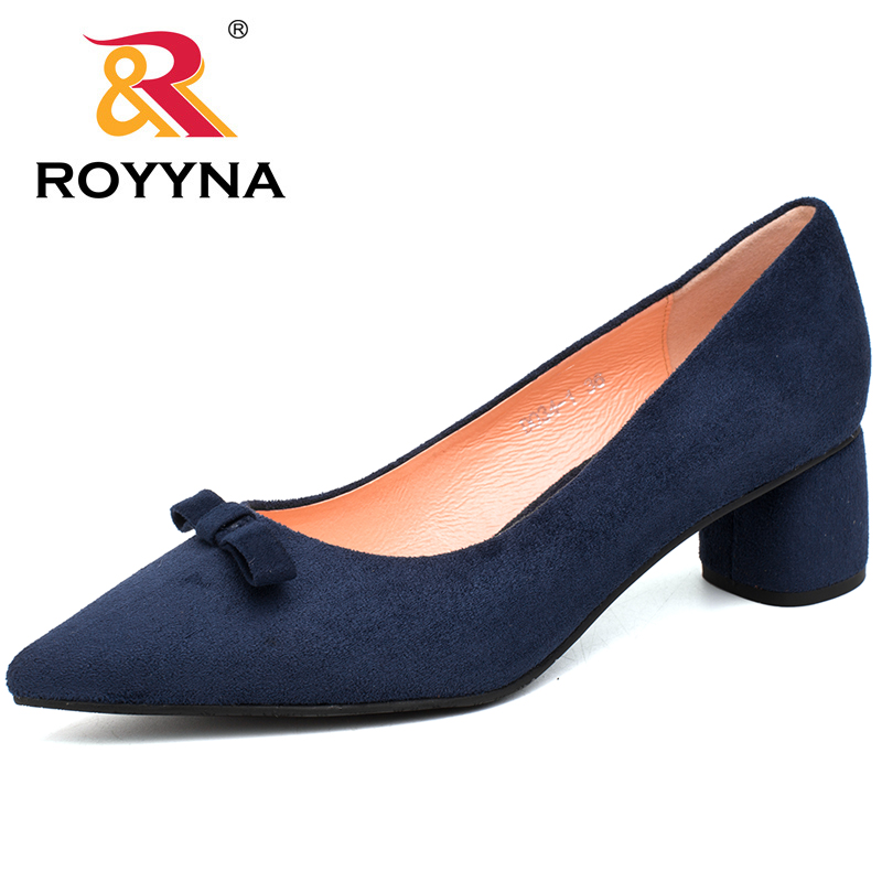 ROYYNA 2017 New Fashion Style Women Pumps Flock Pointed toe Women Shoes Square Heels Women Dress Shoes Free Shipping Wedding