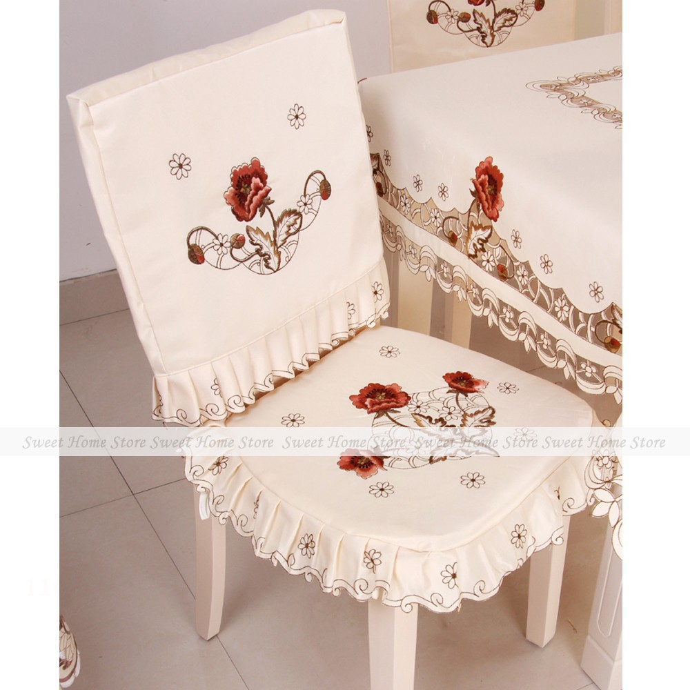 Yazi Embroidered Peony Flower Fabric Tie On Dining Room Chair Seat Cushion Pad Back