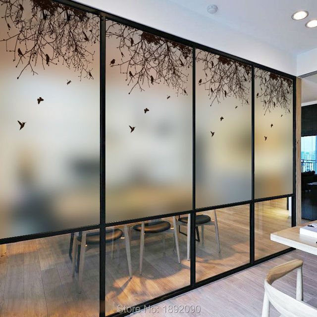 Free Size Customized Glass Window Film Stained Window Films Sliding Door  Office Static Cling Removable