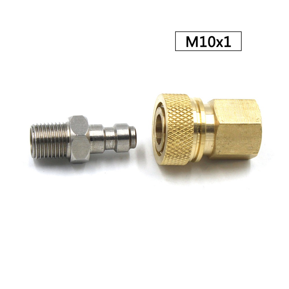 PCP Airforce Paintball Pneumatic Quick Coupler 8mm M10x1 Male Plug And Copper Quick Disconnect Thread Stainless Steel 2pcs/set
