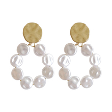 цена на Fashion Double Coin Acrylic Dangle Earrings For Women Metal Round Disc Minimalist Earrings Geometric Gold Color Sequins Jewelry