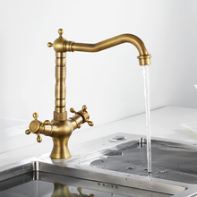 Kitchen Faucets Antique Brass Kitchen Sink Faucet 360 Swivel Bathroom Basin Sink Mixer Tap Dual Handles Cold And Hot Water Tap