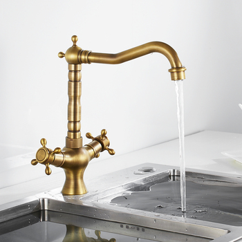 цена на Kitchen Faucets Antique Brass Kitchen Sink Faucet 360 Swivel Bathroom Basin Sink Mixer Tap Dual Handles Cold And Hot Water Tap