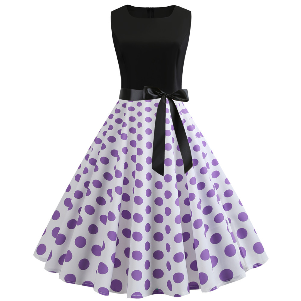 2020 Summer Dress Retro Vintage Dot A Line Tank Women Sleeveless 50s 60s Gothic Pin Up Rockabilly Dress Elegant Party Dresses