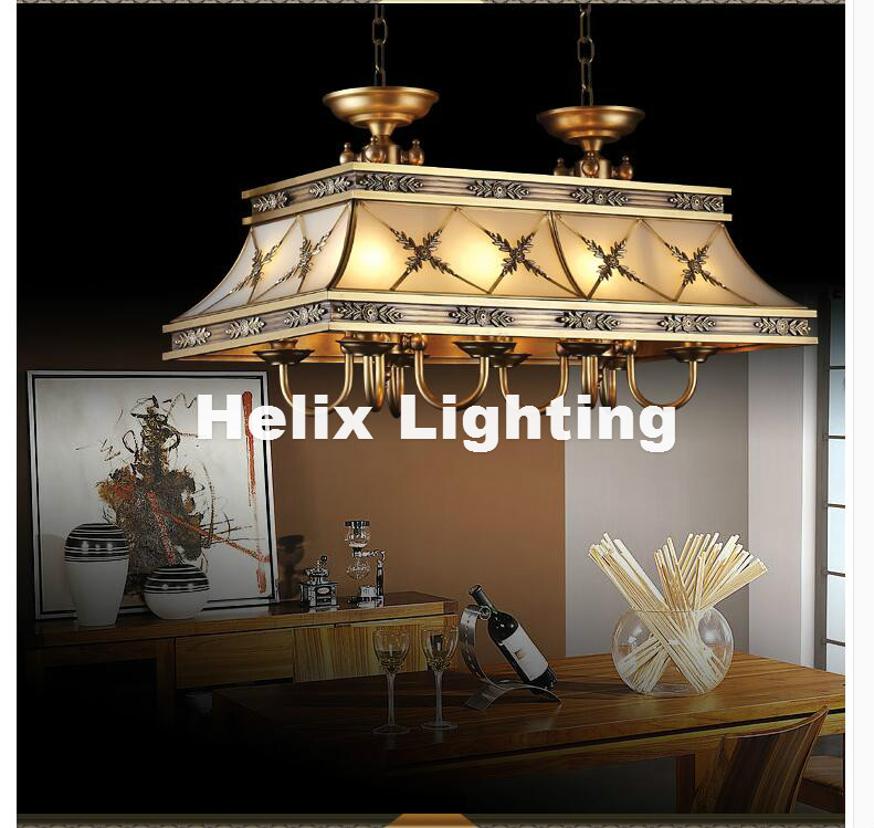 Brass Candle Chandelier AC90-260V 10 Arms Lamps Glass Lampshade Copper Material Chandelier Big Size Living Room Chandelier