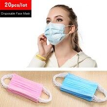 20 шт одноразовые противопылевые маски для лица 3 слоя нетканые медицинские ушные петли для рта защитные респираторные маски для бега и велоспорта