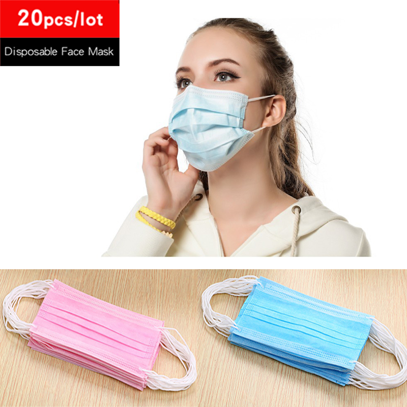 20pcs Disposable Anti Dust Haze Face Mask 3 Layers Non Woven Medical Earloop Mouth Protective Masks Respirator Running Cycling