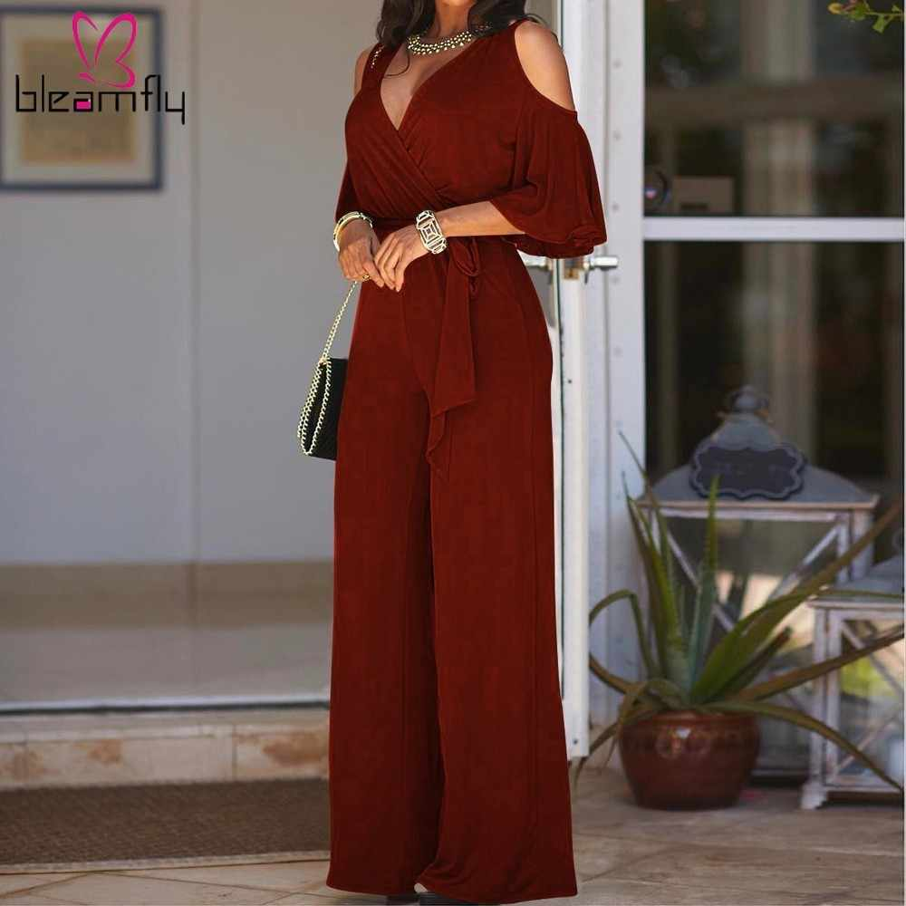 Summer Elegant Wide Leg Jumpsuit Women Off Shoulder V-neck Long Playsuit One Piece Rompers Party Clubwear Overalls Bodys Mujer