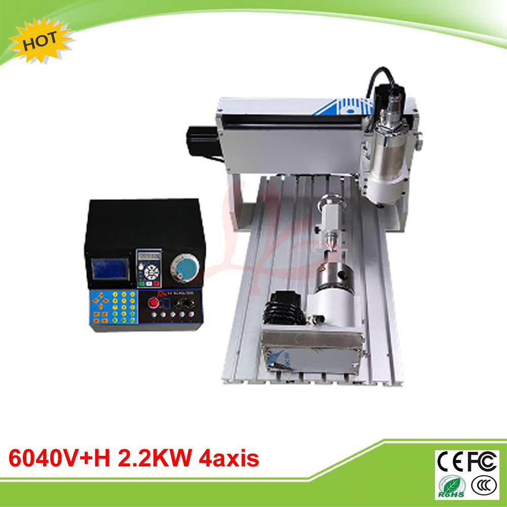 Best VFD controller 6040V+H 2.2KW 4 axis mini CNC drilling milling machine grinder cnc 5axis a aixs rotary axis t chuck type for cnc router cnc milling machine best quality