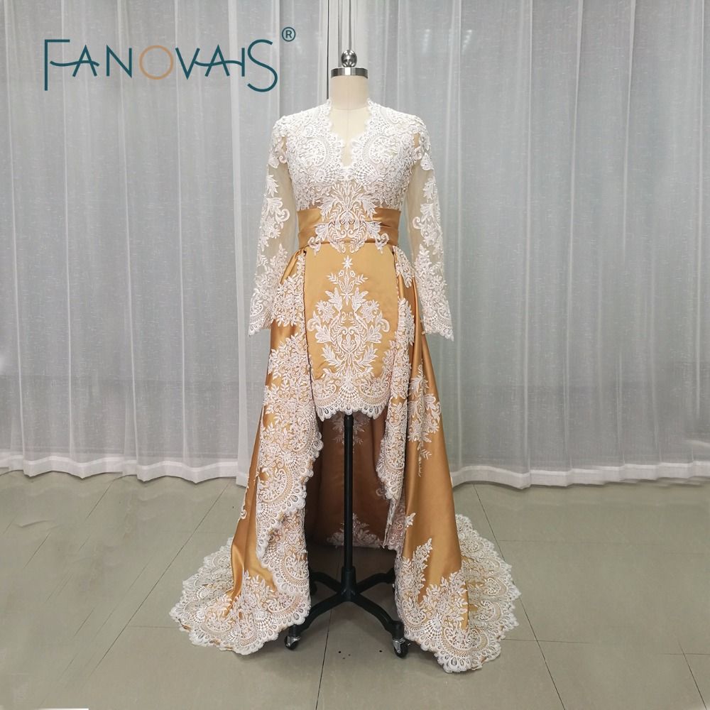 2019 Newest Gold   Evening     Dresses   High Low Lace   Evening   Gowns Long Sleeves Sexy See through Top robe de maree vestido de festa