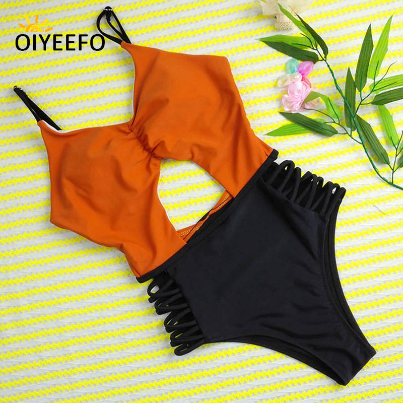 Oiyeefo 3 Colors High Waist Bathing Suits Women One Piece Sexy Hollow Out Swimsuit Brown Beach Jumpsuit Swimwear Female Plavky one piece swimsuits trikinis high cut thong swimsuit sexy strappy monokini swim suits high quality denim women s sports swimwear