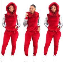 bfa0b864a2b 2019 Velvet Two Piece Set Autumn Winter Outfits Women Clothes Sweatsuit  Hoodies Tops+Pant Sweat