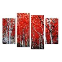4 개 레드 잎 나무 예술 벽 그림 캔버스 홈 장식 아이디어 페인트 벽 사진 액자