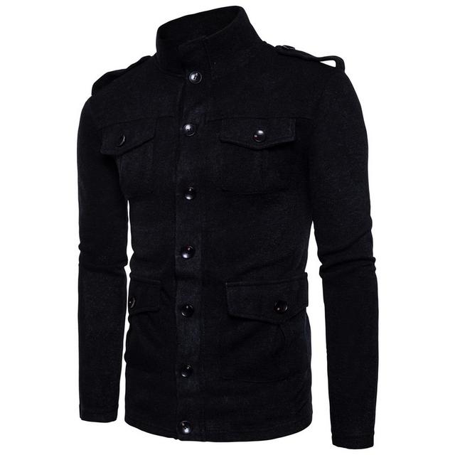 Men Sweater Fashion Spring Autumn Knitwear Cardigans Coat Casual Slim fit Sudaderas Jackets Men Multi-pocket Sweatercoat S-XXL