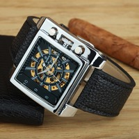 GOER Luxury Brand Rectangle Automatic Mechanical Watches Men PU Leather Fashion Sports Men Skeleton Watches relogio masculino