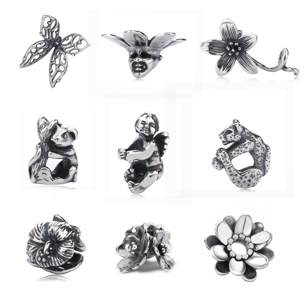 Calvas Lucky Clover Bear Charms Four-Leaves Animal Bead Fit Authentic Troll Bracelet Silver 925 Charms Original Sterling Silver Jewelry Color: 9K