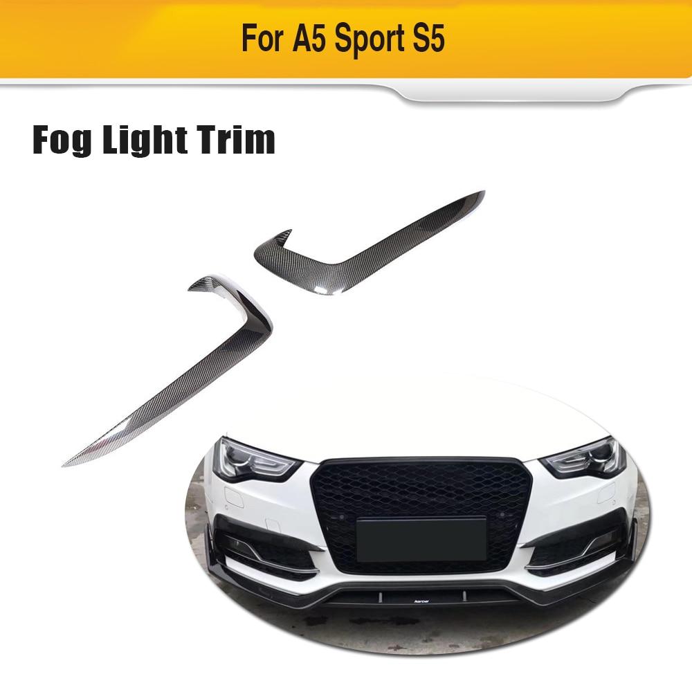 Car Front Bumper Fog Lamp Fins Vent Trims For Audi A5 Sline S5 2012 - 2016 Carbon Fiber Car Sticker Spoiler Non Standard