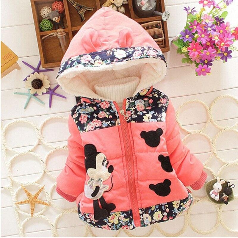 Baby Girls Hooded Jackets Girls Fashion Minnie Mickey Cartoon Children Clothing Coat Baby Kids Winter Warm Outerwear Jackets 2