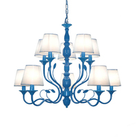 American Double Deck Iron Candle Chandelier Simple Living Room Restaurant Chandeliers Clothing Stores Studio Personality Lamps