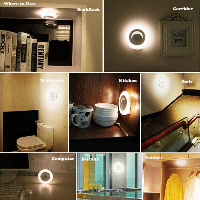 12pcs/lot Battery Powered Motion Sensor LED Cabinet Light Day U0026 Night Light  Sensor LED