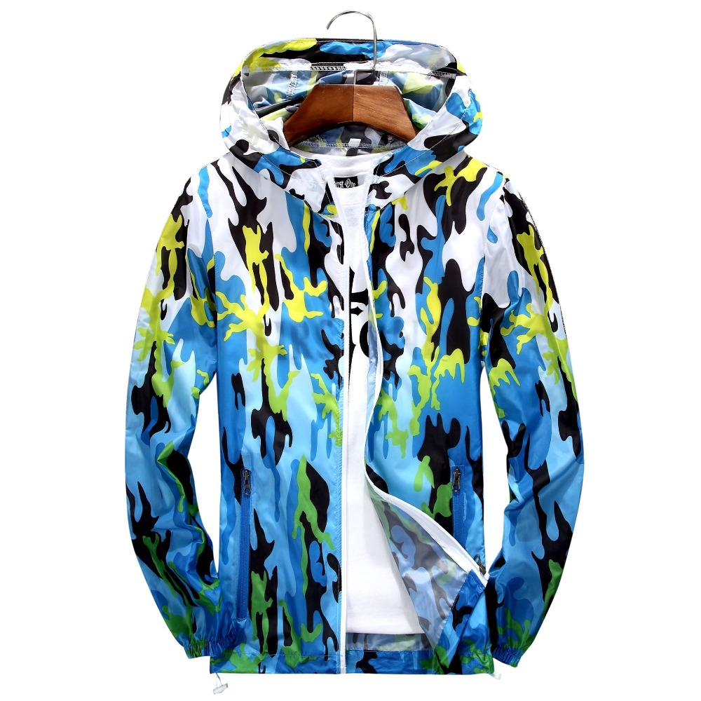 B New Men Women Ultra-Light Gradient Printed Skin Jackets Men's Coats Thin Spring Autumn Quick Dry Women Hooded Coats